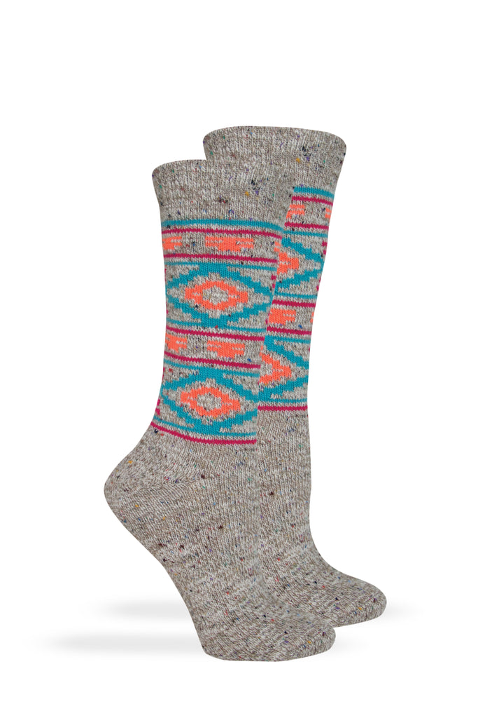 Wise Blend Ladies Aztec Pattern Comfy Crew Socks 1 Pair Pack