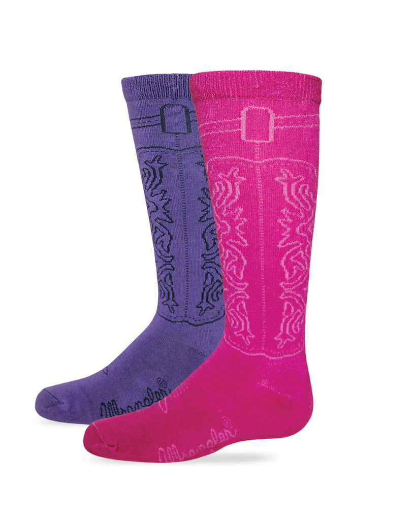 Wrangler Girls Cowgirl Boot Sock 2 Pack