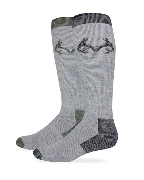 Realtree Men's Merino Wool Blend Moisture Wicking Boot Socks 2 Pair Pack