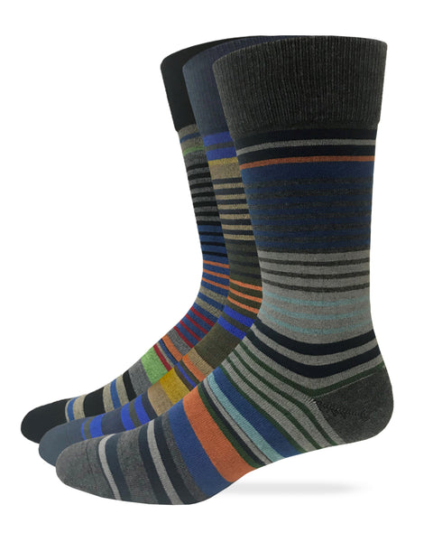 Top Flite Men's Stripe Crew Dress Socks 2 Pair Pack
