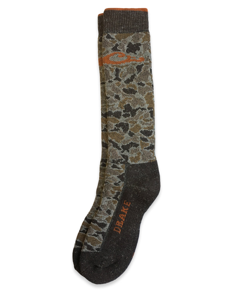 Drake Men's Merino Wool Blend Camo Tall Boot Socks 1 Pair