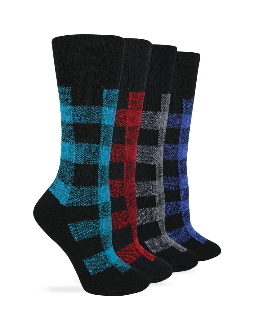 Wise Blend Ladies Merino Wool Blend Plaid Pattern Cushion Socks 1 Pair