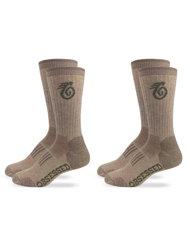 Medium weight Merino Wool Crew Boot Socks - 2 Pair Pack