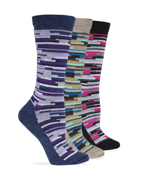 Wise Blend Ladies Merino Wool Blend Digi Stripe Crew Socks 1 Pair