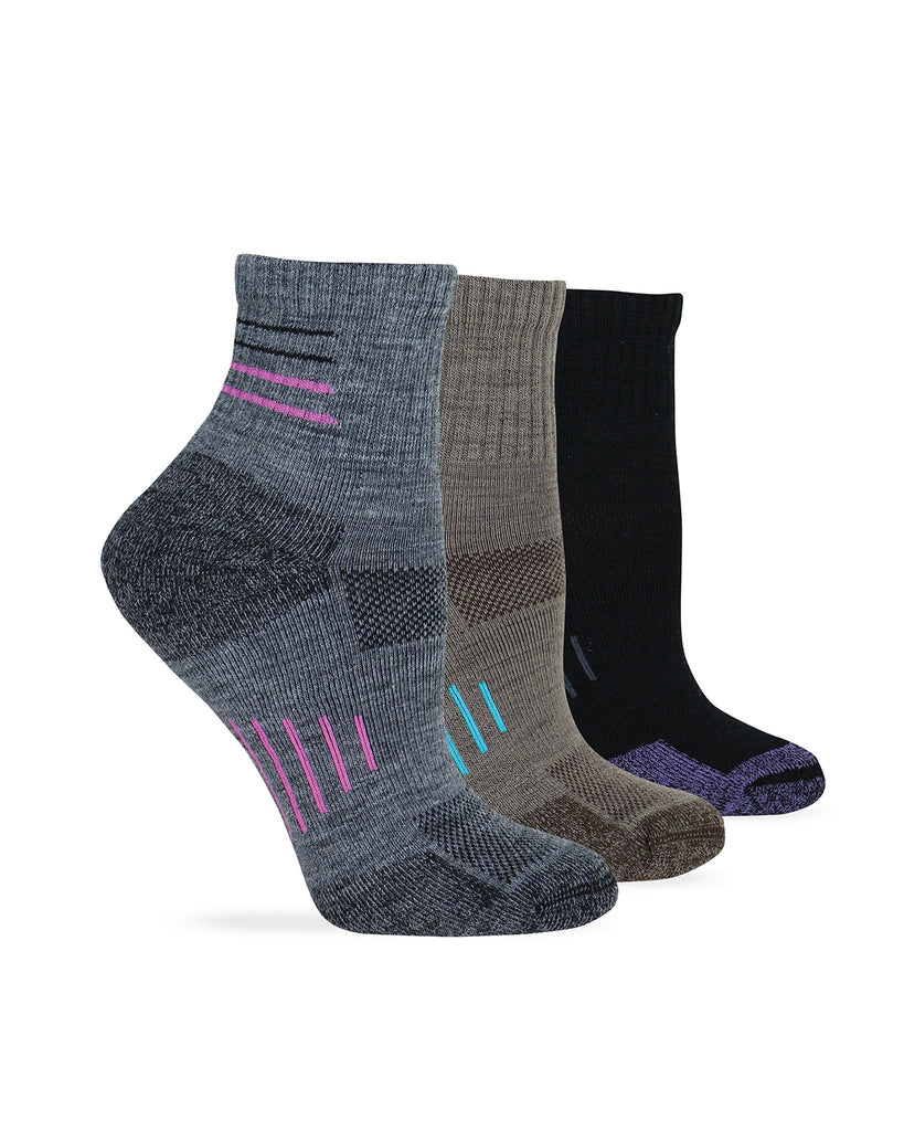 Wise Blend Ladies Merino Wool Blend Hiker Quarter Sock 1 Pair Pack