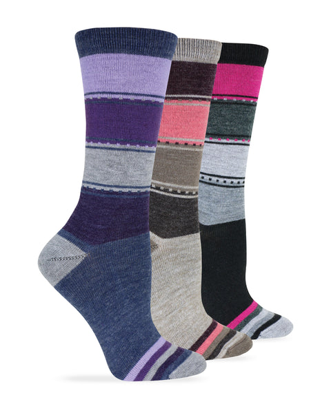 Wise Blend Ladies Merino Wool Blend Color Block Crew Socks 1 Pair
