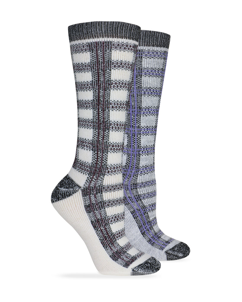 Wise Blend Ladies Merino Wool Blend Plaid Socks 1 Pair