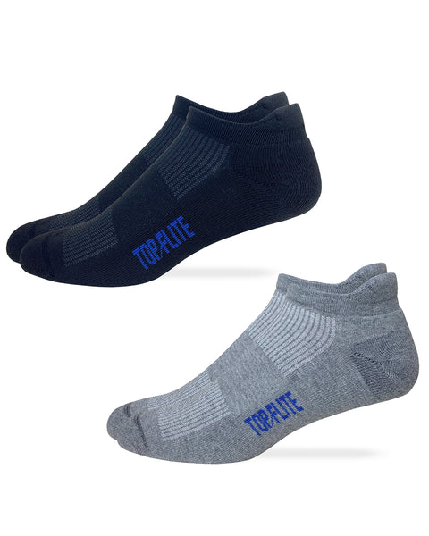 Top Flite Mens Moisture Wicking Seamless Toe Heel Tab Sport Socks 2 Pair Pack