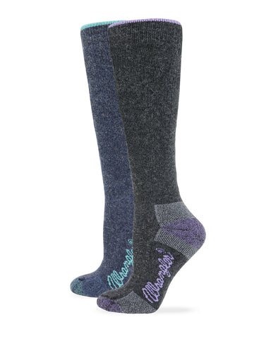 Wrangler Ladies Angora Blend Cushioned Knee High Boot Socks 2 Pair