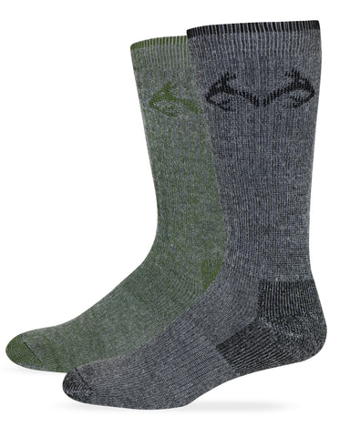 Realtree Men's Merino Wool Blend Boot Socks 2 Pair