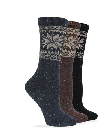 Wise Blend Ladies Snowflake Pattern Wool Crew Socks 1 Pair Pack