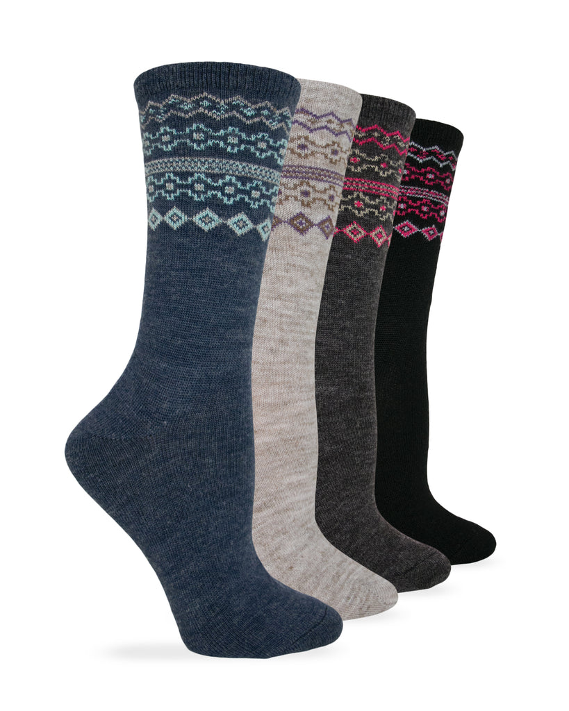 Wise Blend Ladies Fairisle Pattern Crew Sock 1 Pair Pack