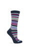 Wise Blend Ladies Striped Pattern Crew Socks 1 Pair Pack