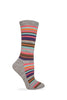 Wise Blend Ladies Merino Wool Blend Striped Pattern Crew Socks 1 Pair Pack