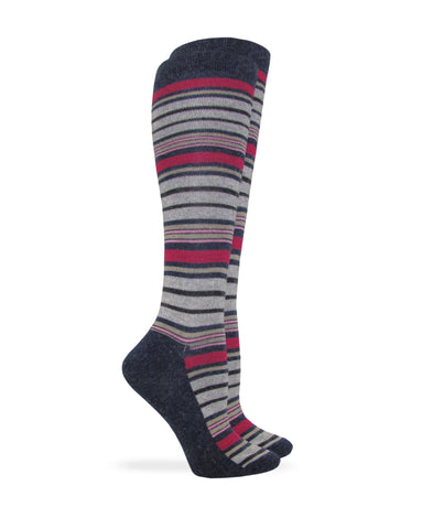 Wise Blend Ladies Angora Stripe Knee High Socks 1 Pair Pack