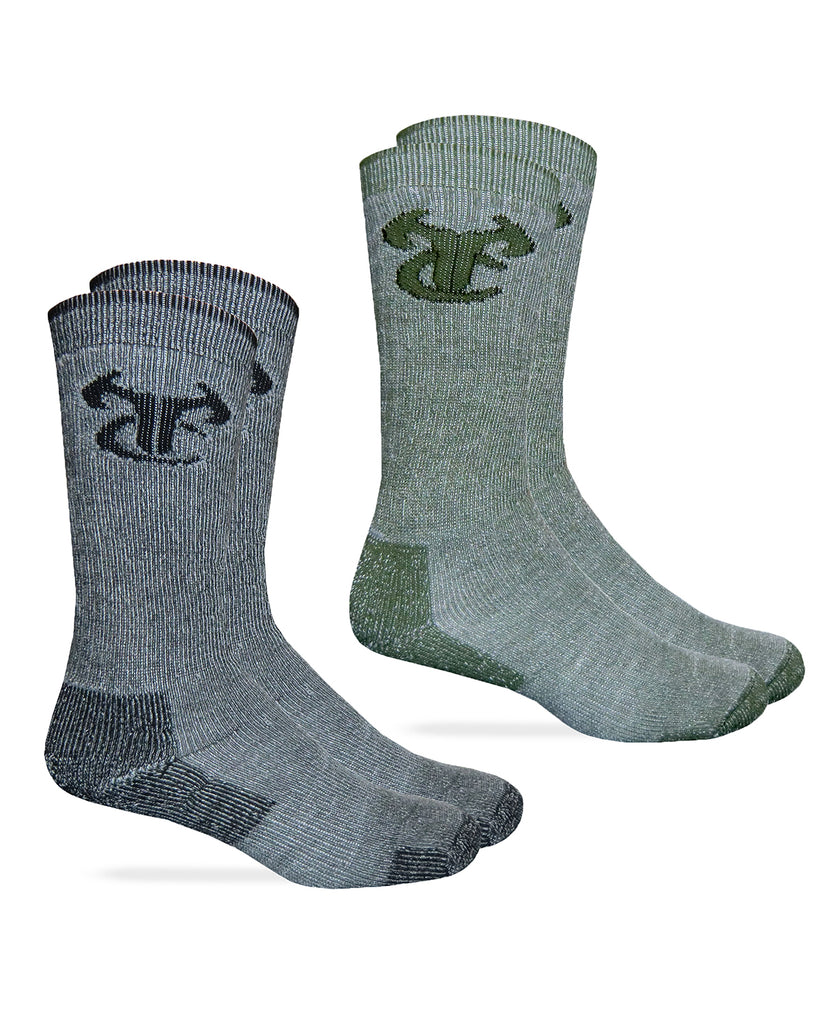 TrueTimber Mens Merino Wool Blend ElimiShield Boot Socks 2 Pair Pack