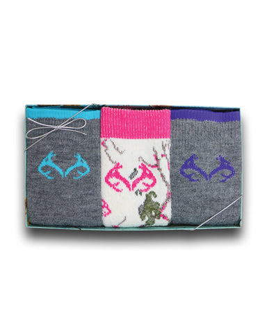 Realtree Ladies Merino Wool Blend Socks Gift Box 3 Pair