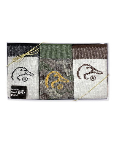 Ducks Unlimited Men's Merino Wool Blend Mid Calf Socks Gift Box 3 Pair