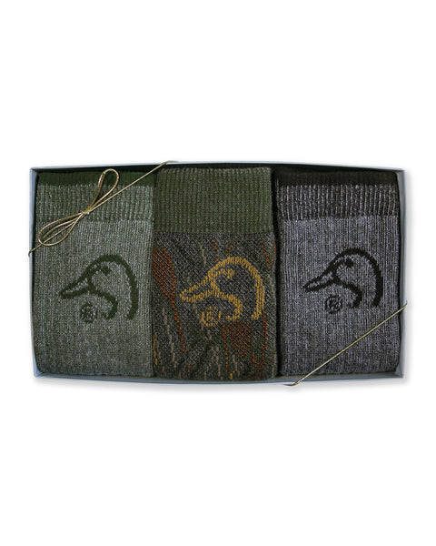 Ducks Unlimited Men's Merino Wool Blend Mid Calf Boot Socks Gift Box 3 Pair