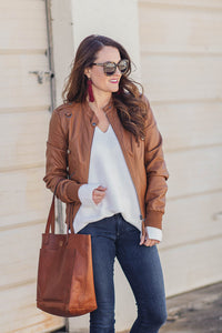 How To Style A Beige Leather Jacket