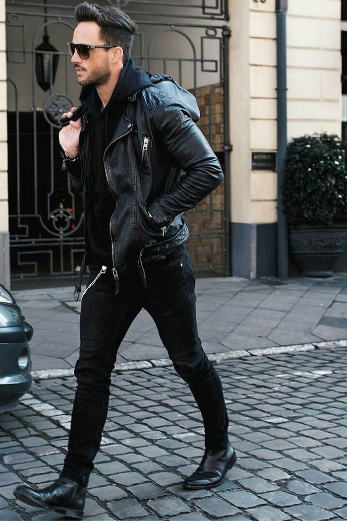leather jacket and leather pants 2