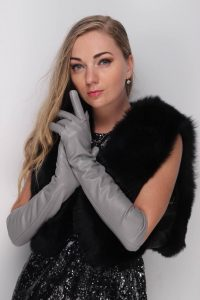 elbow leather gloves