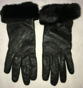 furry leather gloves