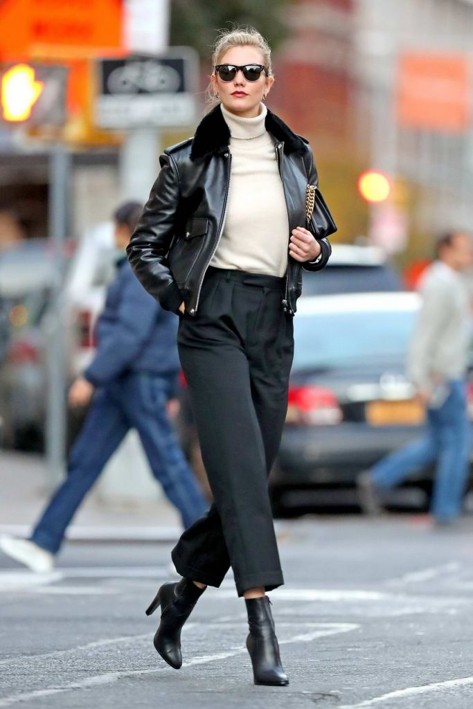 karlie kloss leather jacket