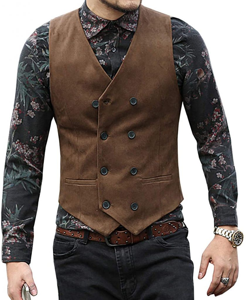 leather waistcoat double breasted