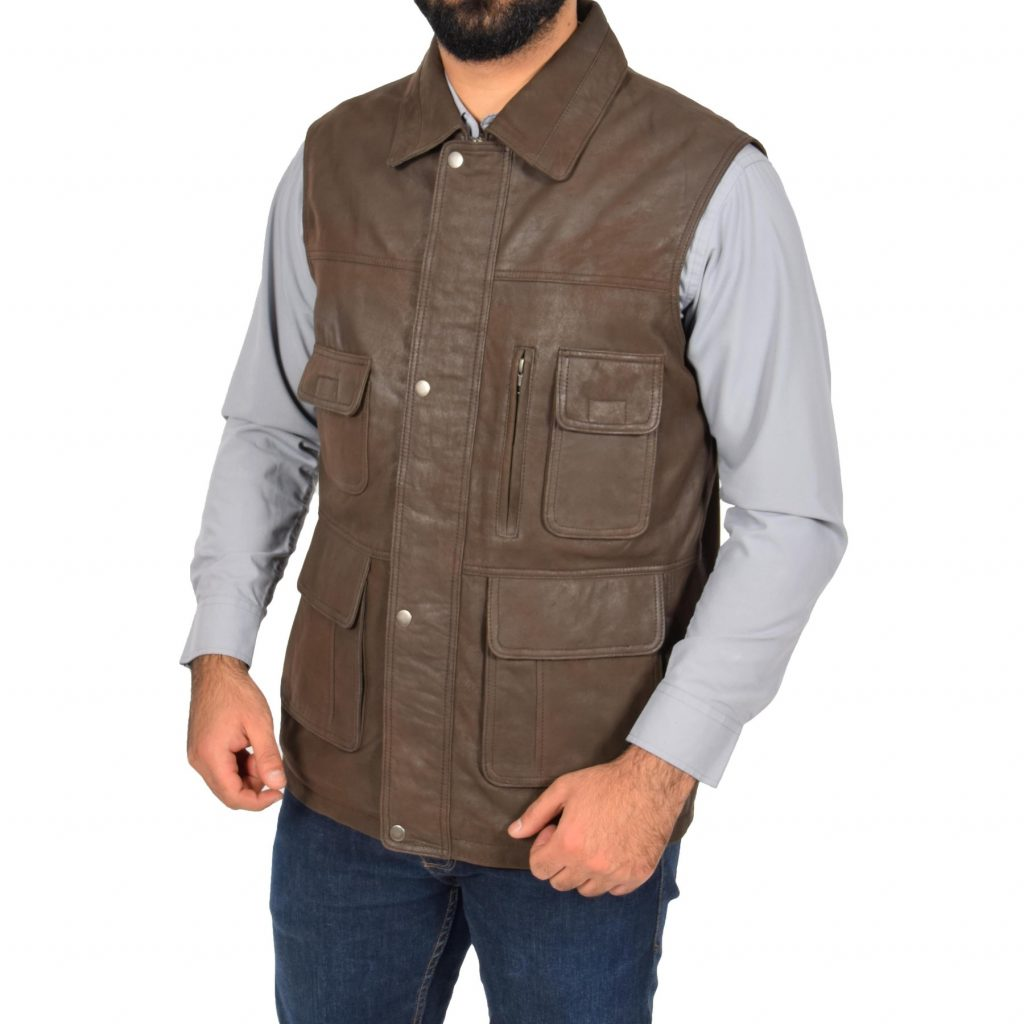 leather waistcoat with pockets