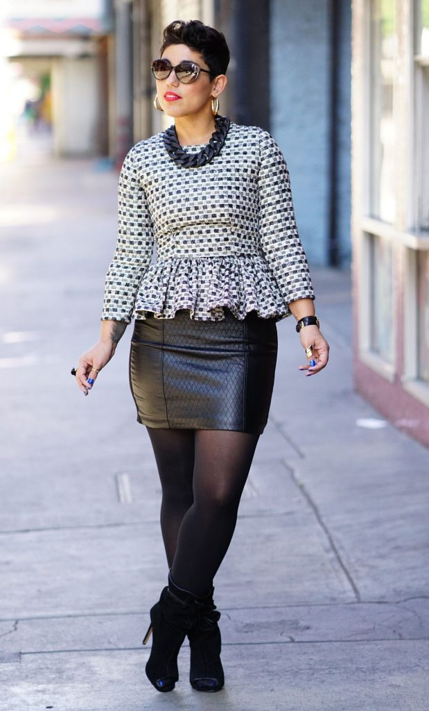 peplum top with leather skirt