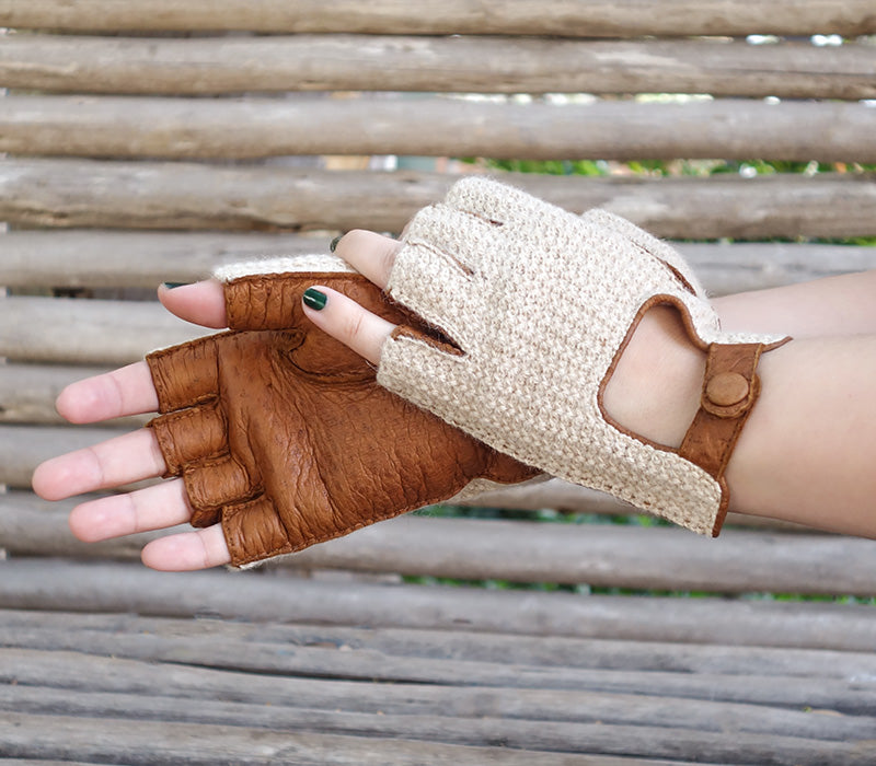 fingerless peccary leather gloves crochet baby alpaca Anteia