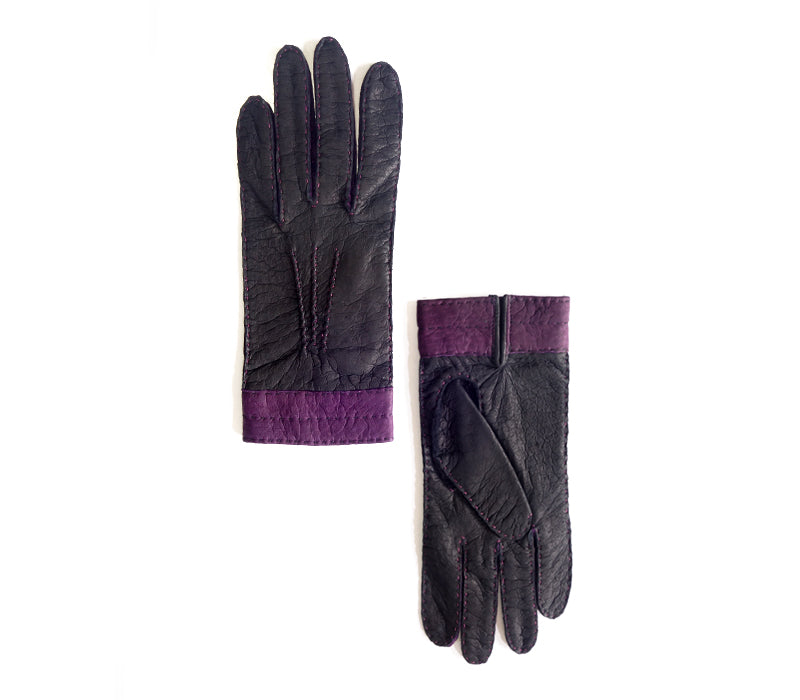 camila black purple peccary gloves