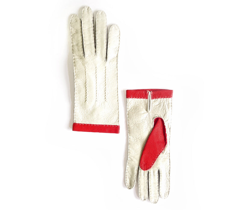 sabrina beige red peccary gloves