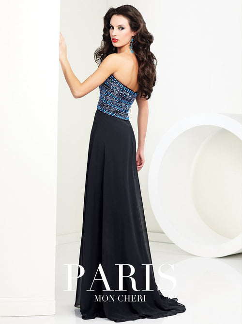 Mon Cheri Black/Royal Blue Evening Gown - 10379
