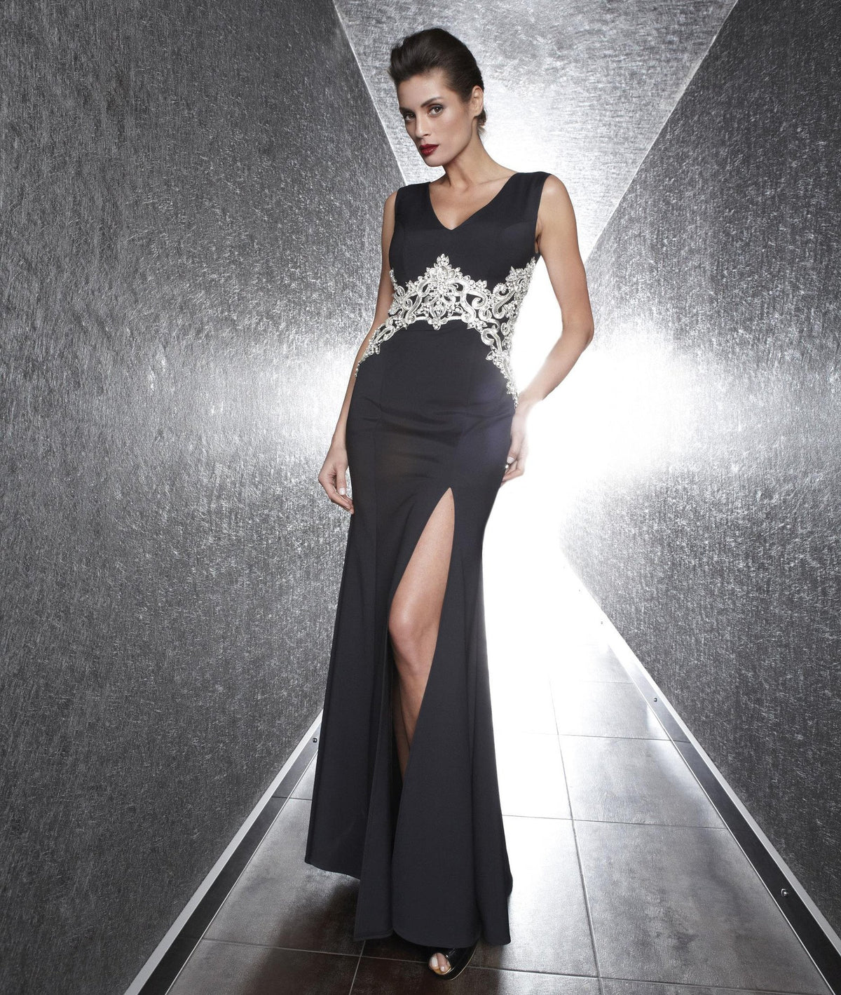 Nataliya Black Embellished Waist Evening Gown