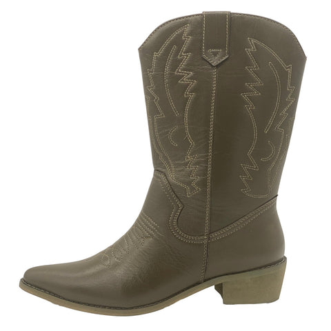 women's Leather Cowboy Brown pointed toe Mid calf Boots