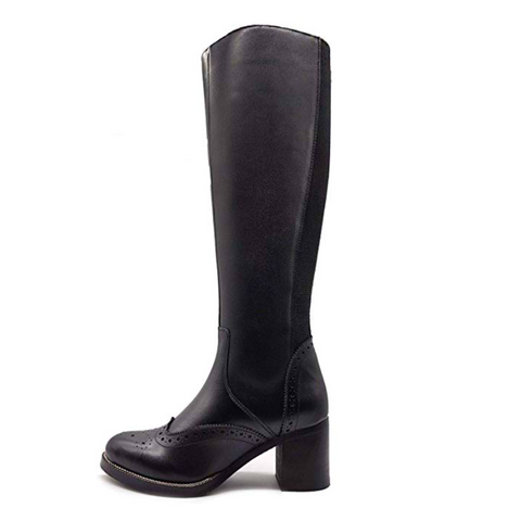 Block Leather Brogue Knee High Black Boots