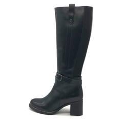 Block Heel Leather Long Black Boots