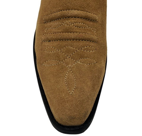 Wilson Suede Western Cowboy Ankle Boots- Tan Suede