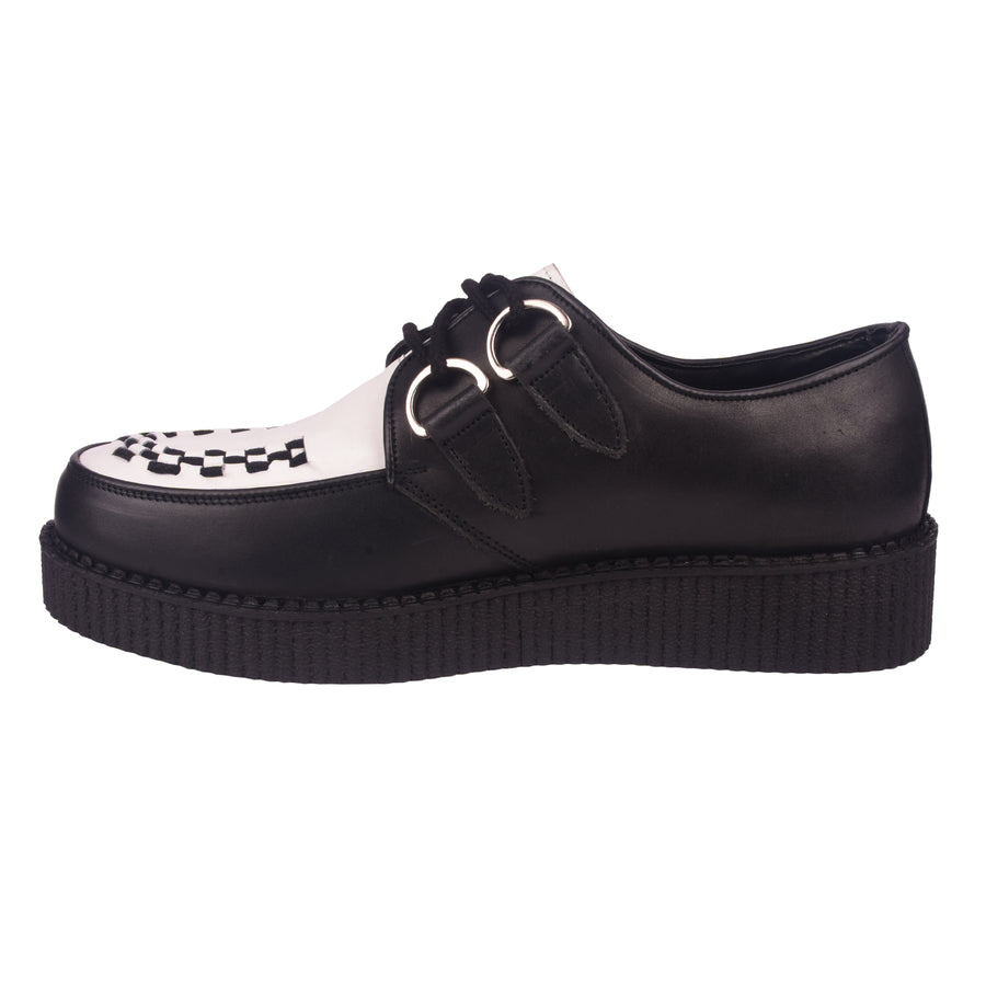 Rebel Black & White Leather Creepers Men Women
