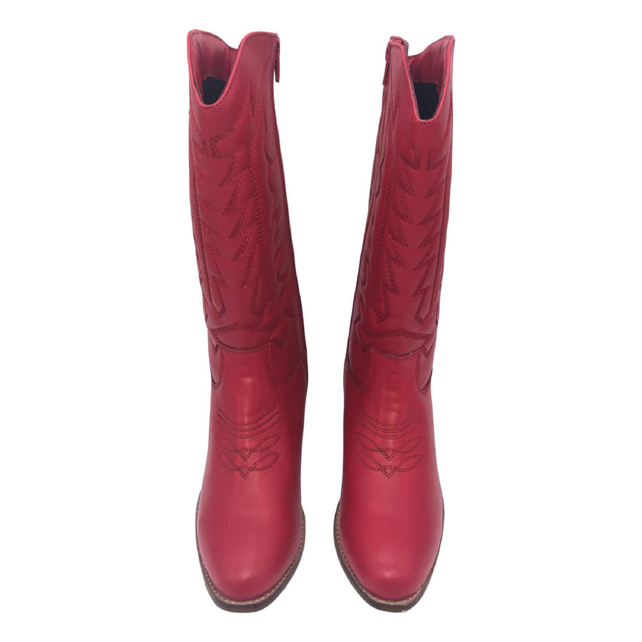 Belle Faux Leather Western Cowboy Boots - Red