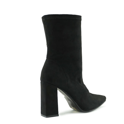 Porter Retro Block Heel Sock Boots - Black