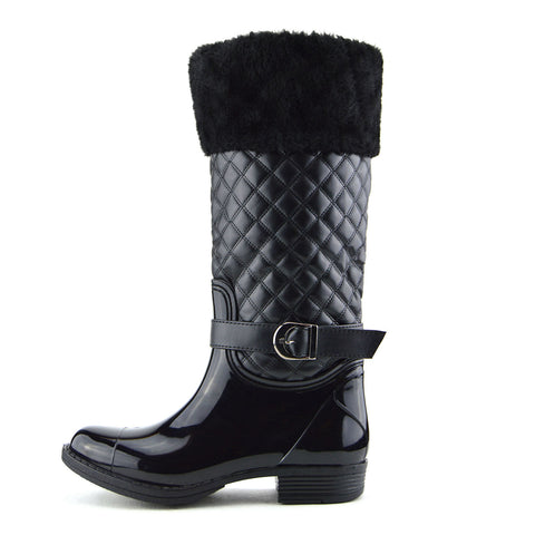 Knee High Faux Fur Top Winter Wellington Boots