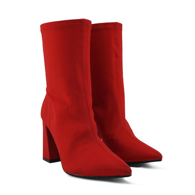 Porter Retro Block Heel Sock Boots - Red