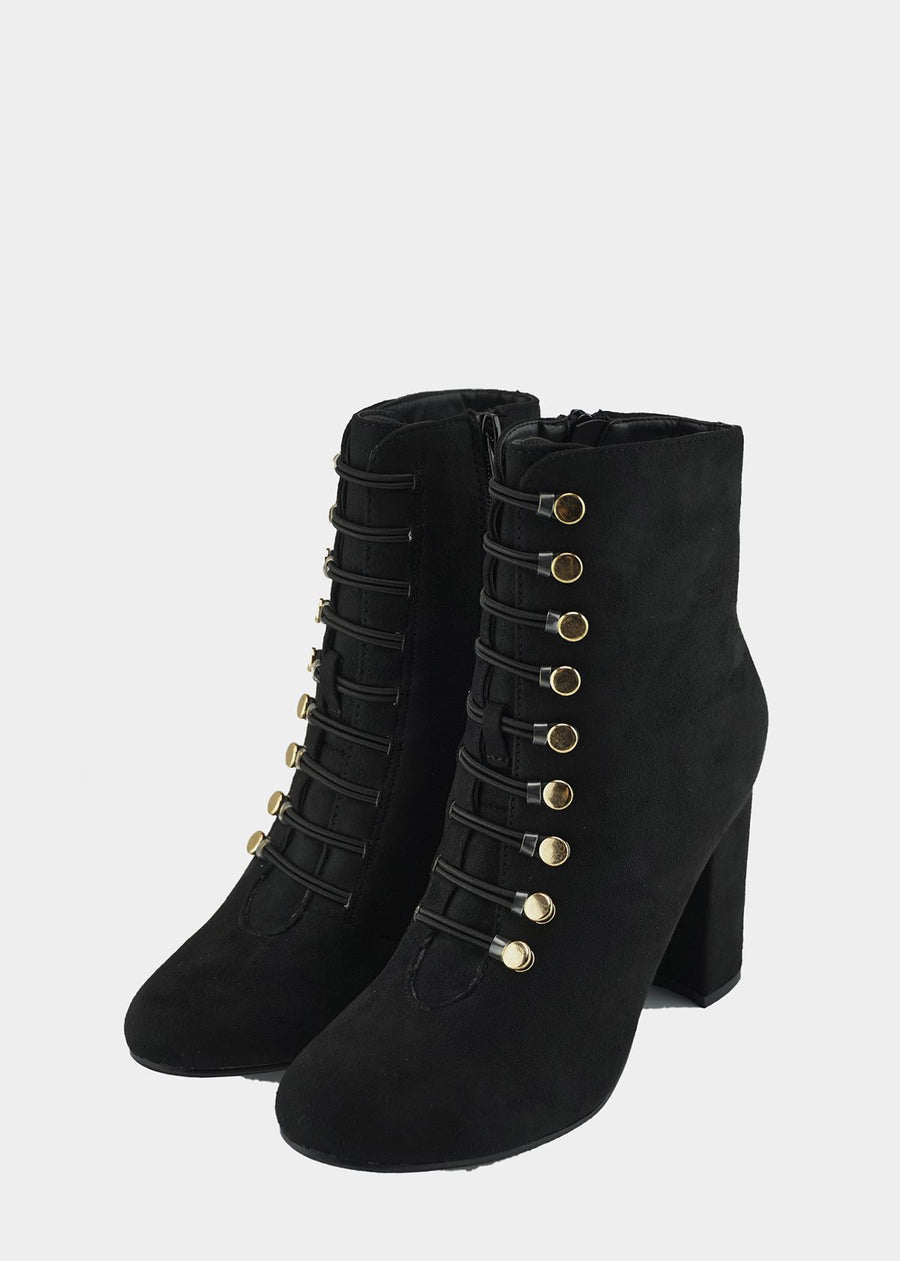 Lucia Vintage Gold Button Boots - Black