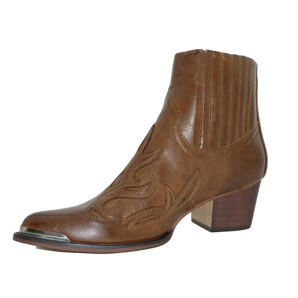 Billie Brown Western Ankle Boots