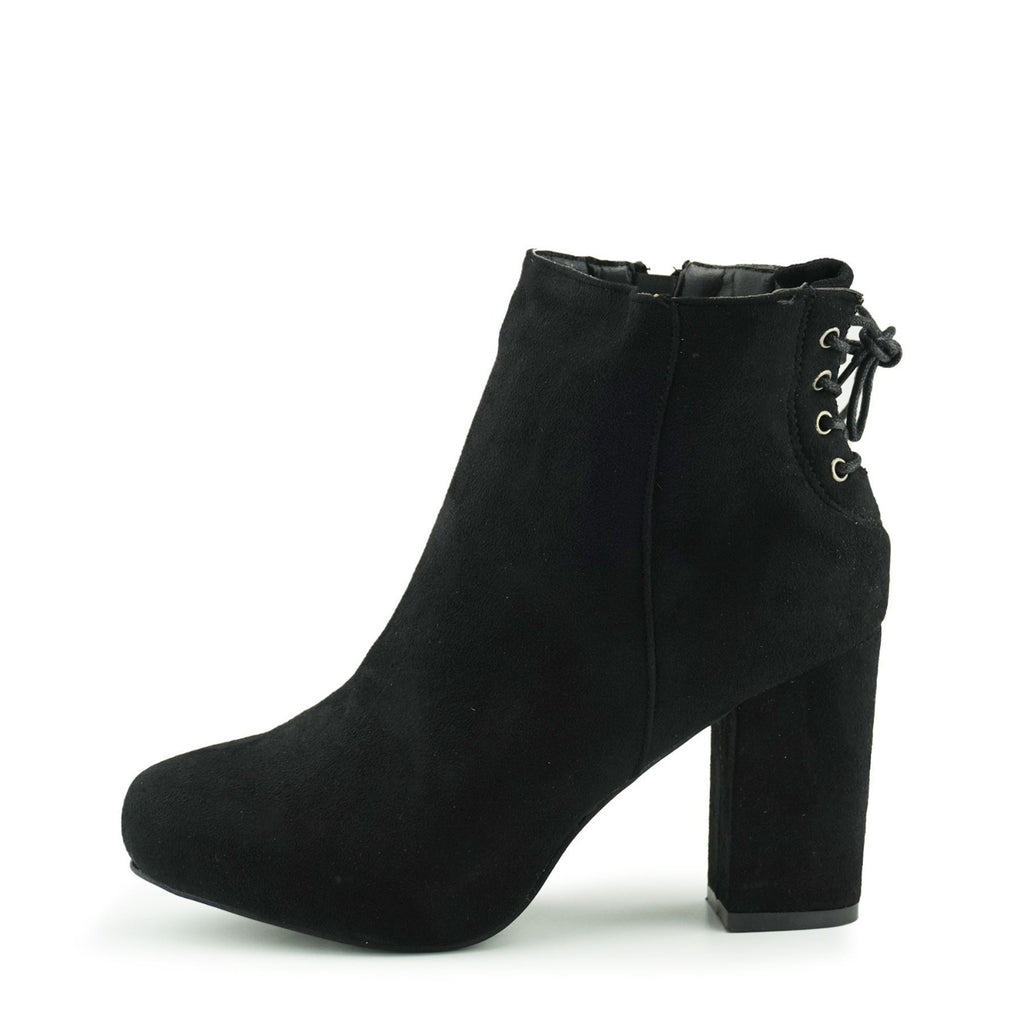 Corset Back Heeled Ankle Boots - Black