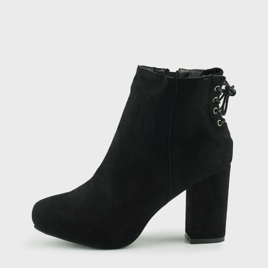 Corset Back Heeled Boots - Black