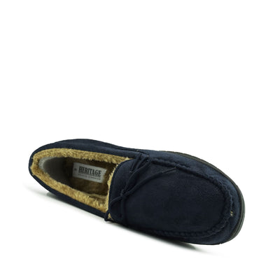 Winter Cosy Moccasin Faux Sheepskin Slippers - Navy